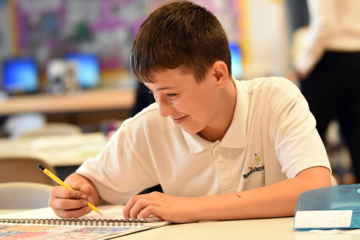 A Boldon School pupil in a classroom