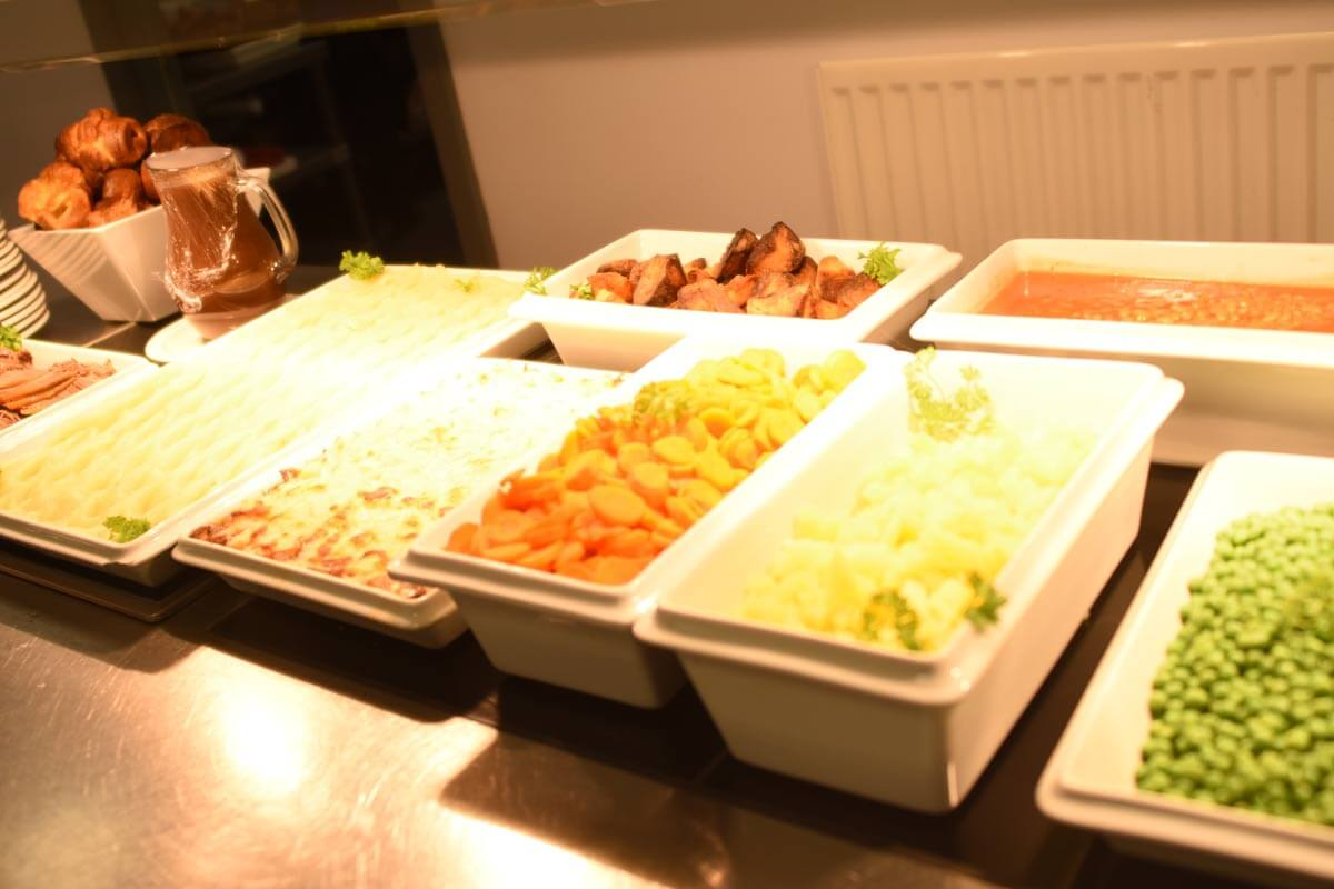Various trays of food
